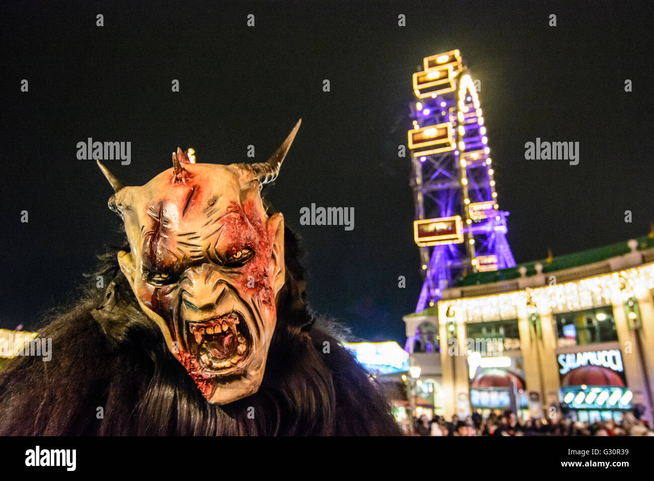 Mask Procession Perchtenlauf With Krampus In The Prater In Front Of