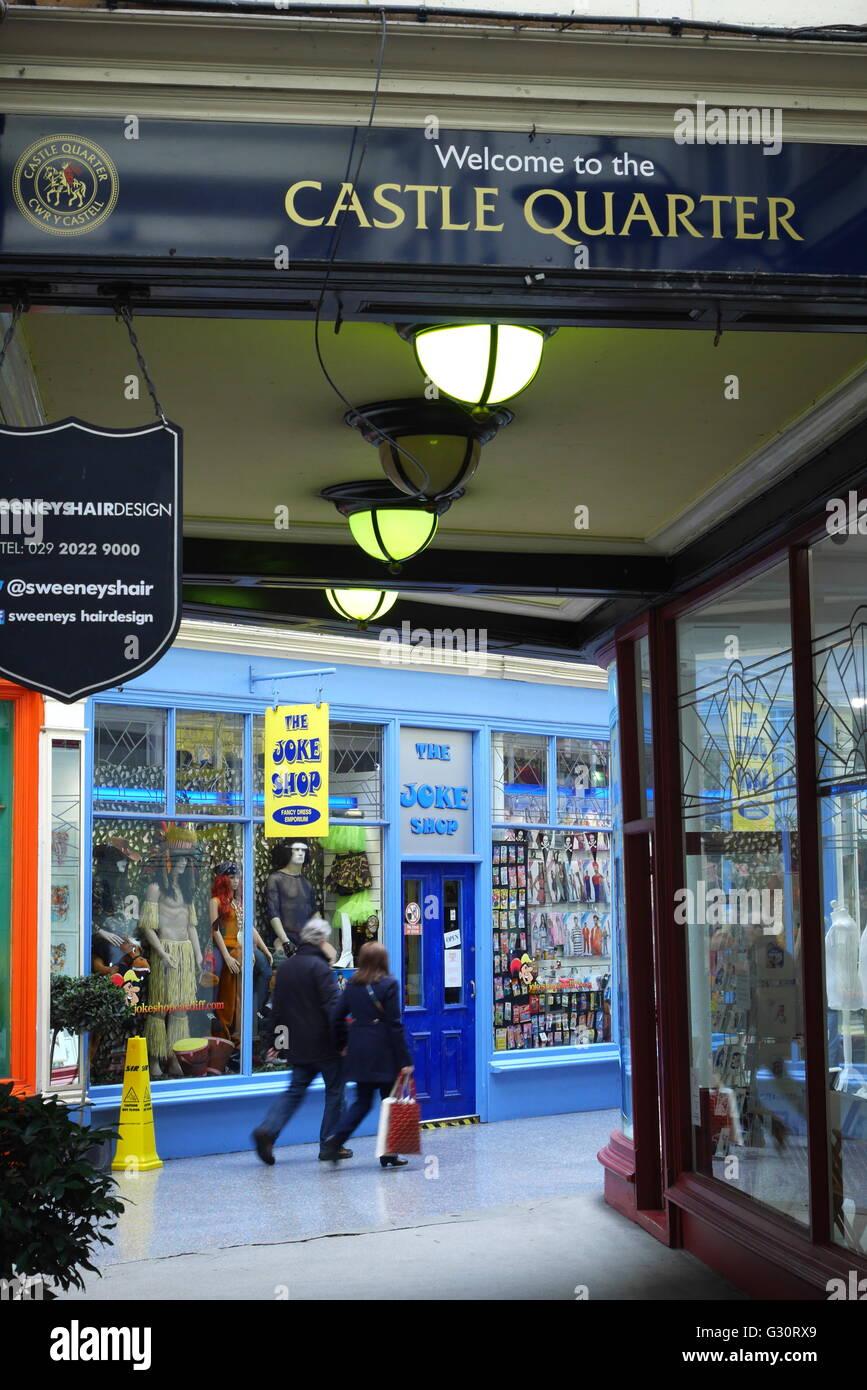 Joke shop in the Victorian High Street Arcade, Castle Quarter, taken from the Edwardian Duke Street Arcade, Cardiff, - Stock Image