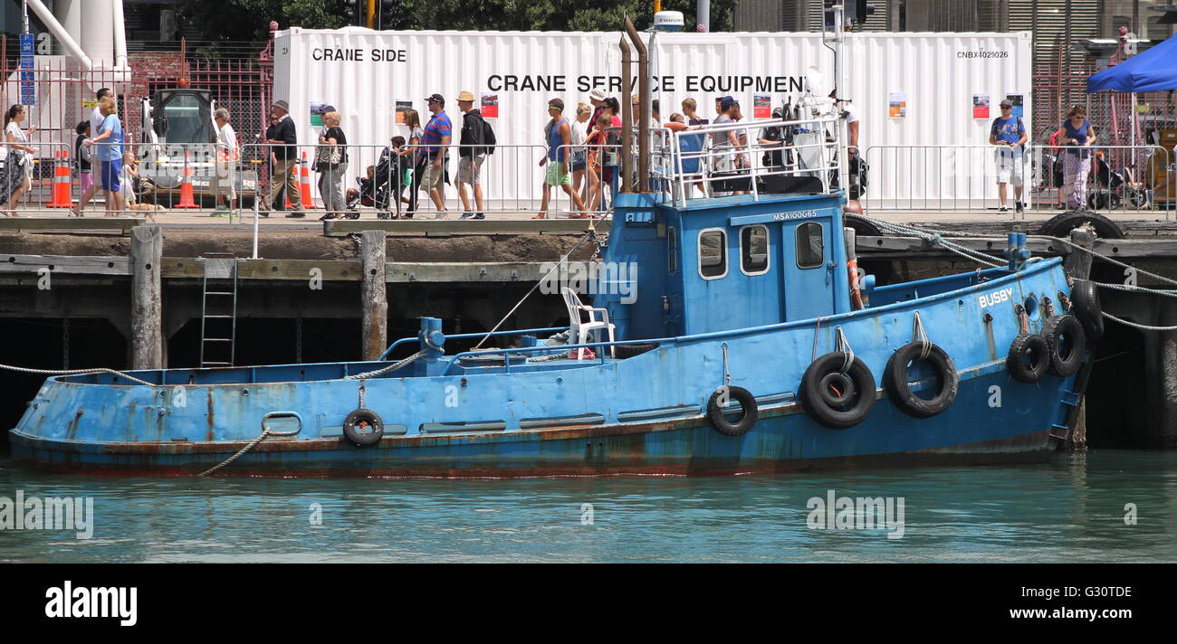 Old tugboat at Auckland Wharf - Stock Image
