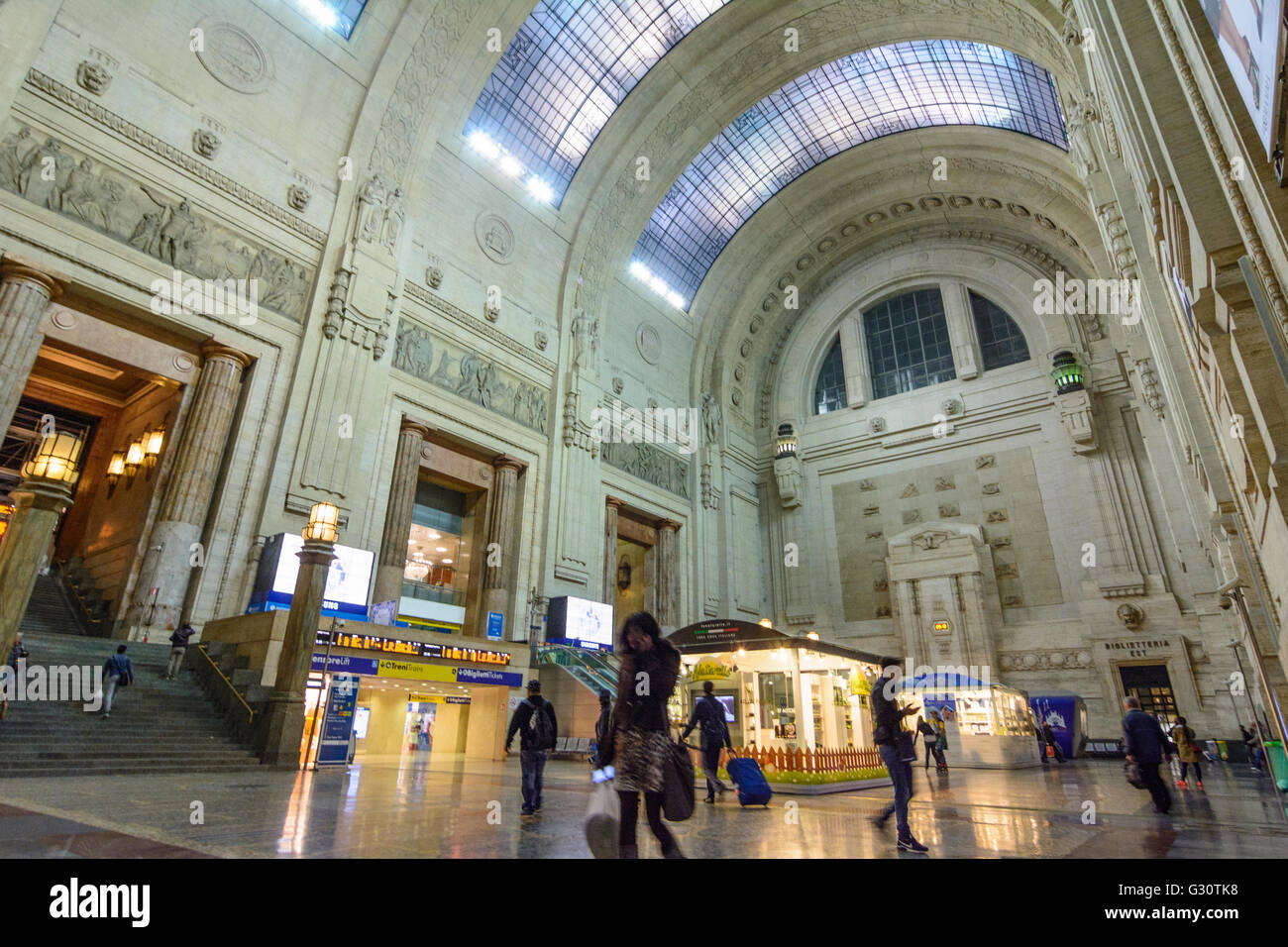 Milano Centrale railway station entrance hall, Italy, Lombardei, Lombardy, , Mailand, Milan - Stock Image