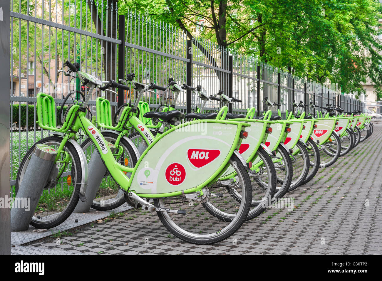 Budapest, bicycles belonging to the Budapest City Cycle Scheme parked together at a rental point in the city's - Stock Image