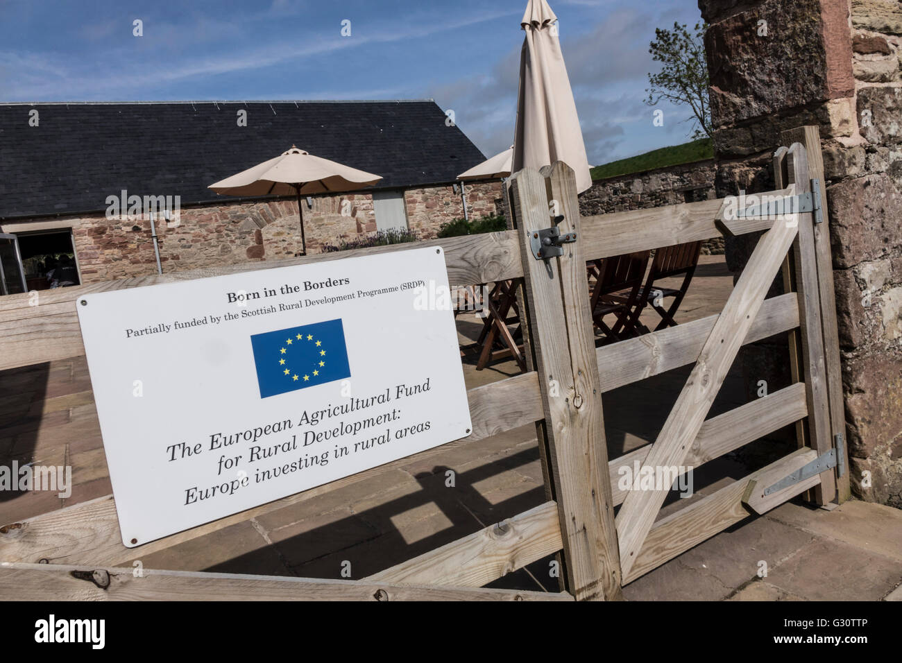 EU assistance shown on Born in the Borders, brewery and shops/café development in Scotland - Stock Image