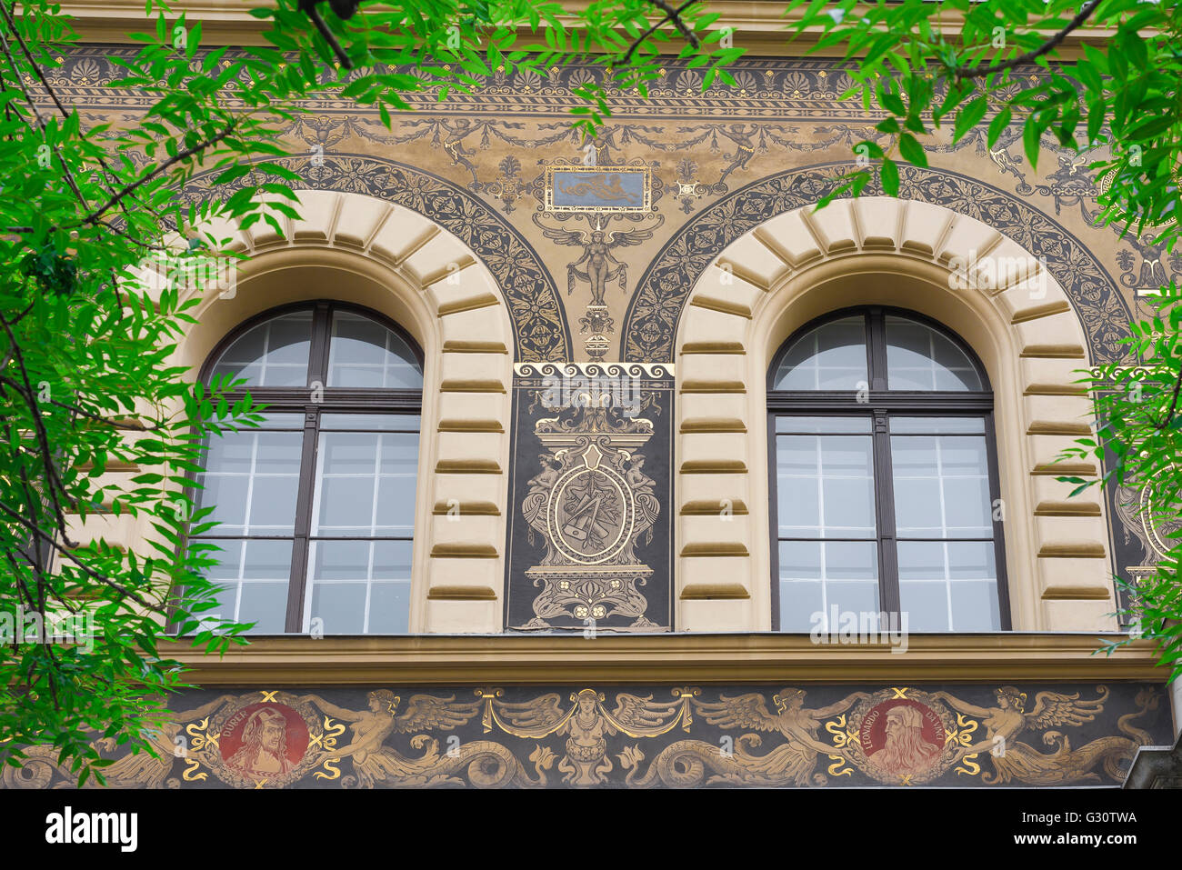 Budapest andrassy ut, the richly decorated exterior of the Art Institute building in Andrassy ut in the the Terezvaros - Stock Image