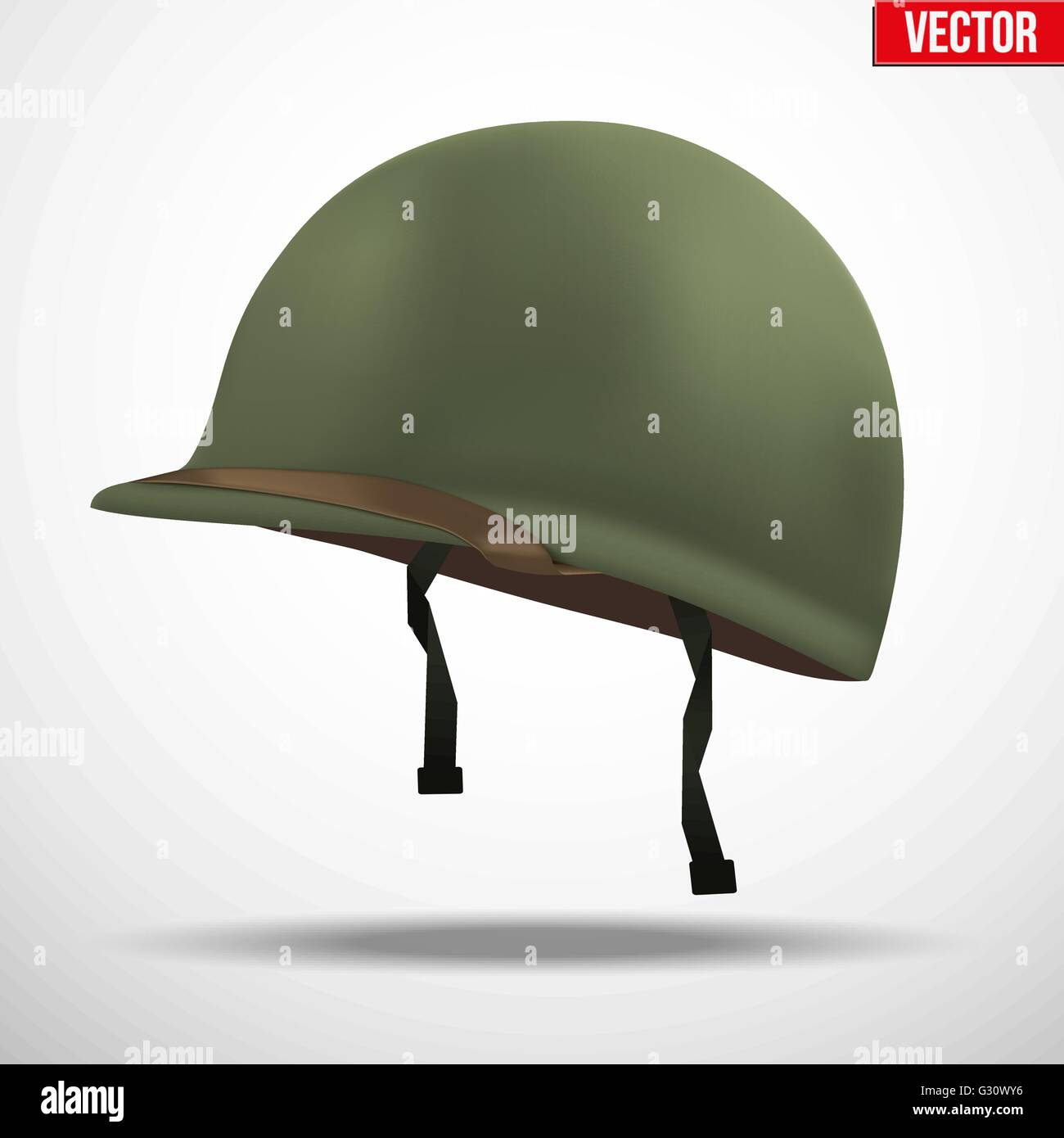 Military US green helmet infantry of WWII. Side view. Metallic army symbol of defense. - Stock Vector