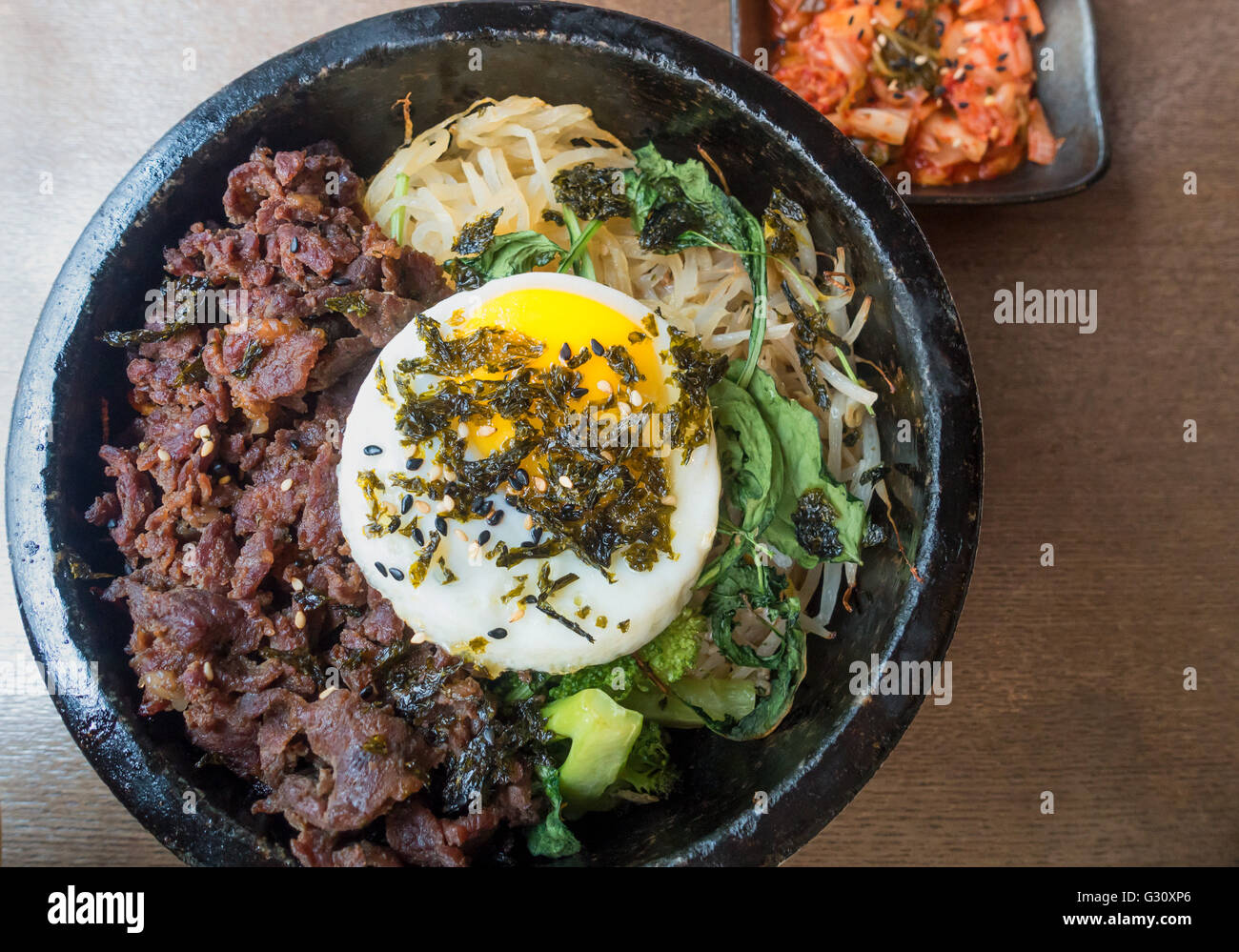 Korean Cuisine Bibimbap Kimchi Beef Greens Rice Noodles And An Stock Photo Alamy