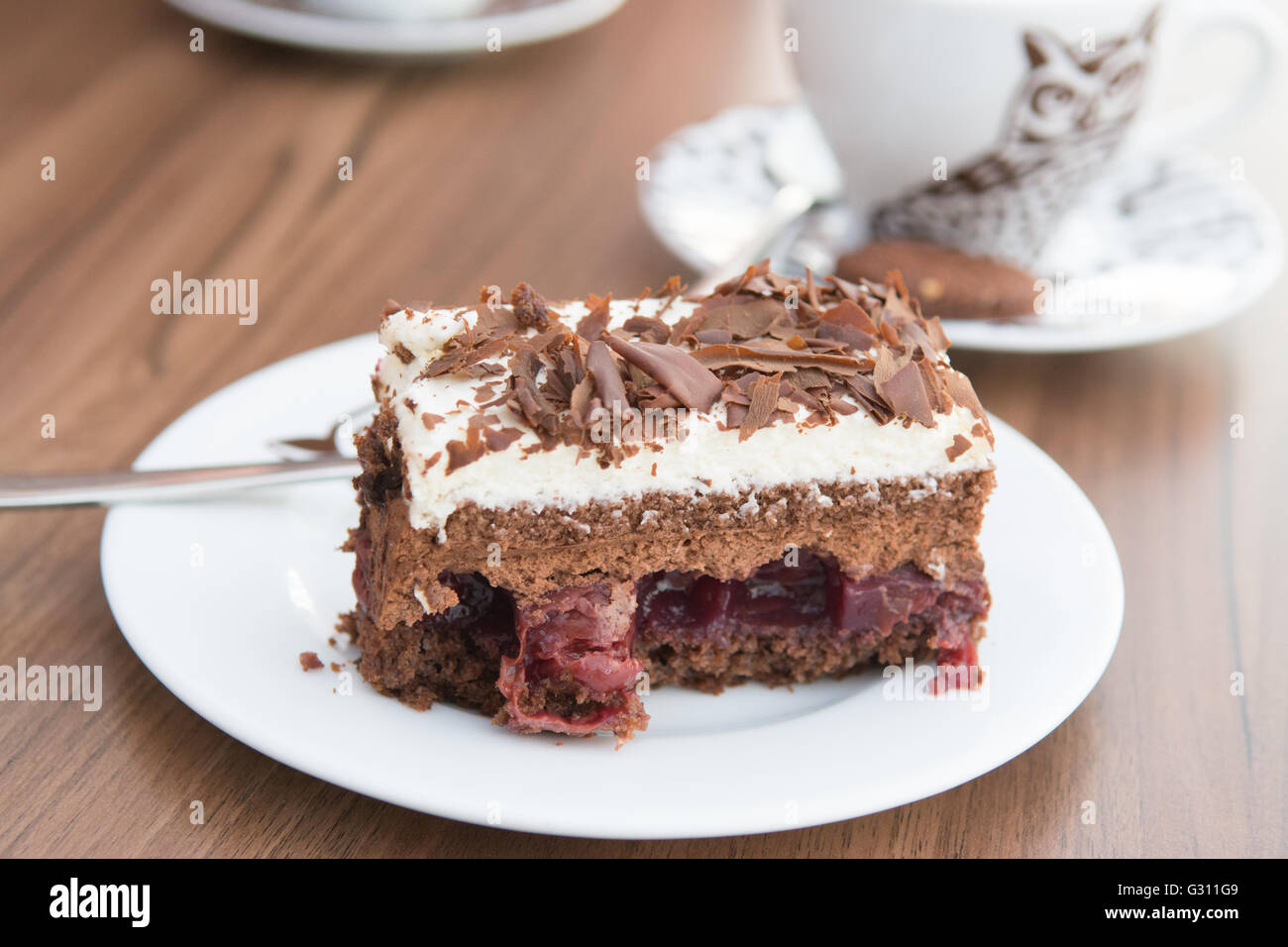 cake from Cukiernia Sowa coffee shop on Long Street in the heart of Gdansk, Poland - Stock Image