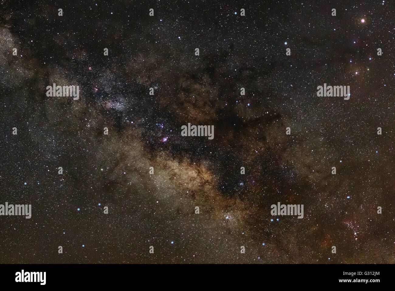 Close-up of Milky Way Galaxy,Long exposure photograph, with grain - Stock Image