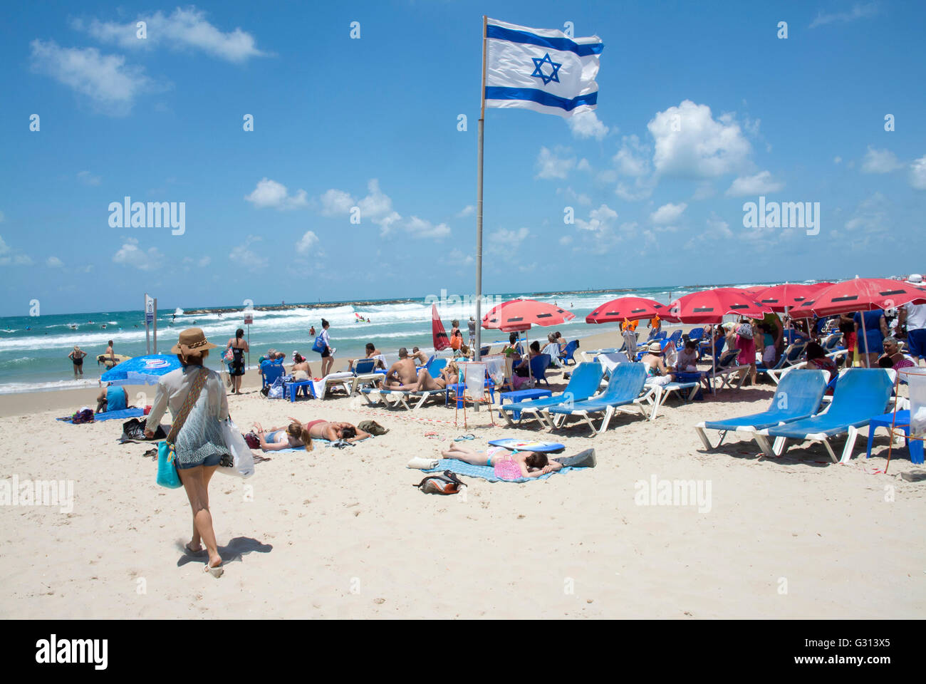Beach at Tel Aviv, Israel. - Stock Image