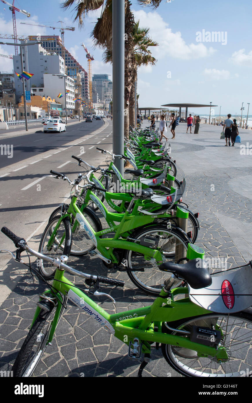 Cycles for hire on the beach front in Tel Aviv, Israel. - Stock Image