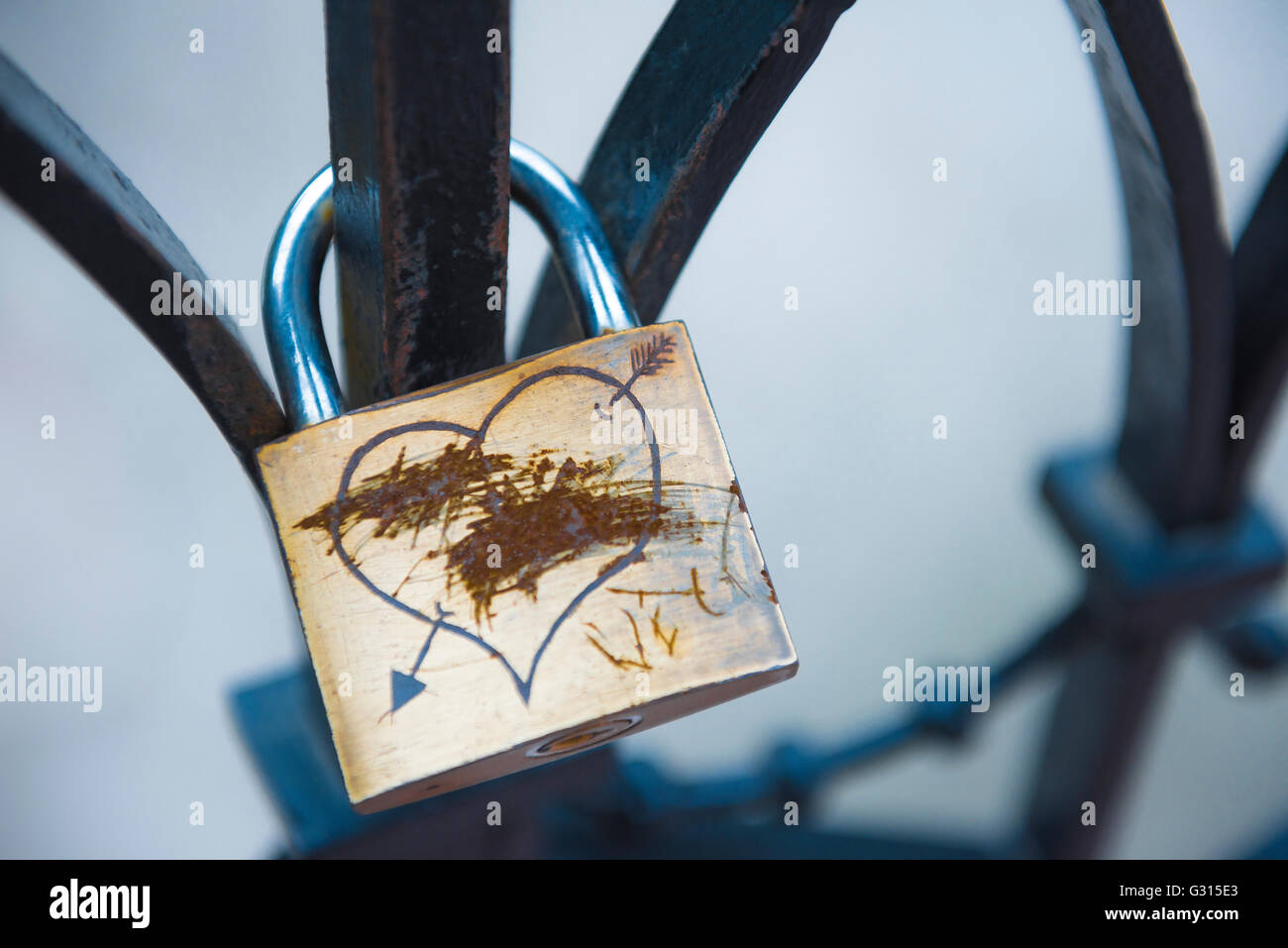 Relationship breakup, a 'love lock' with its lovers' names scratched out, implying a separation, Budapest, - Stock Image