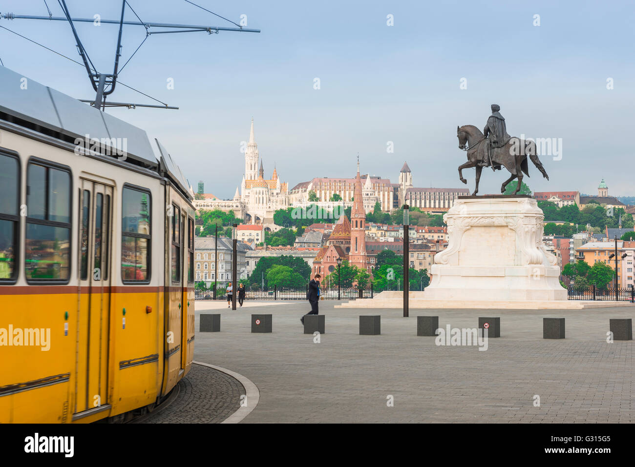 Budapest parliament square, statue of Hungarian Prime MInister Gyula Andrassy in Kossuth ter, at the southern end - Stock Image