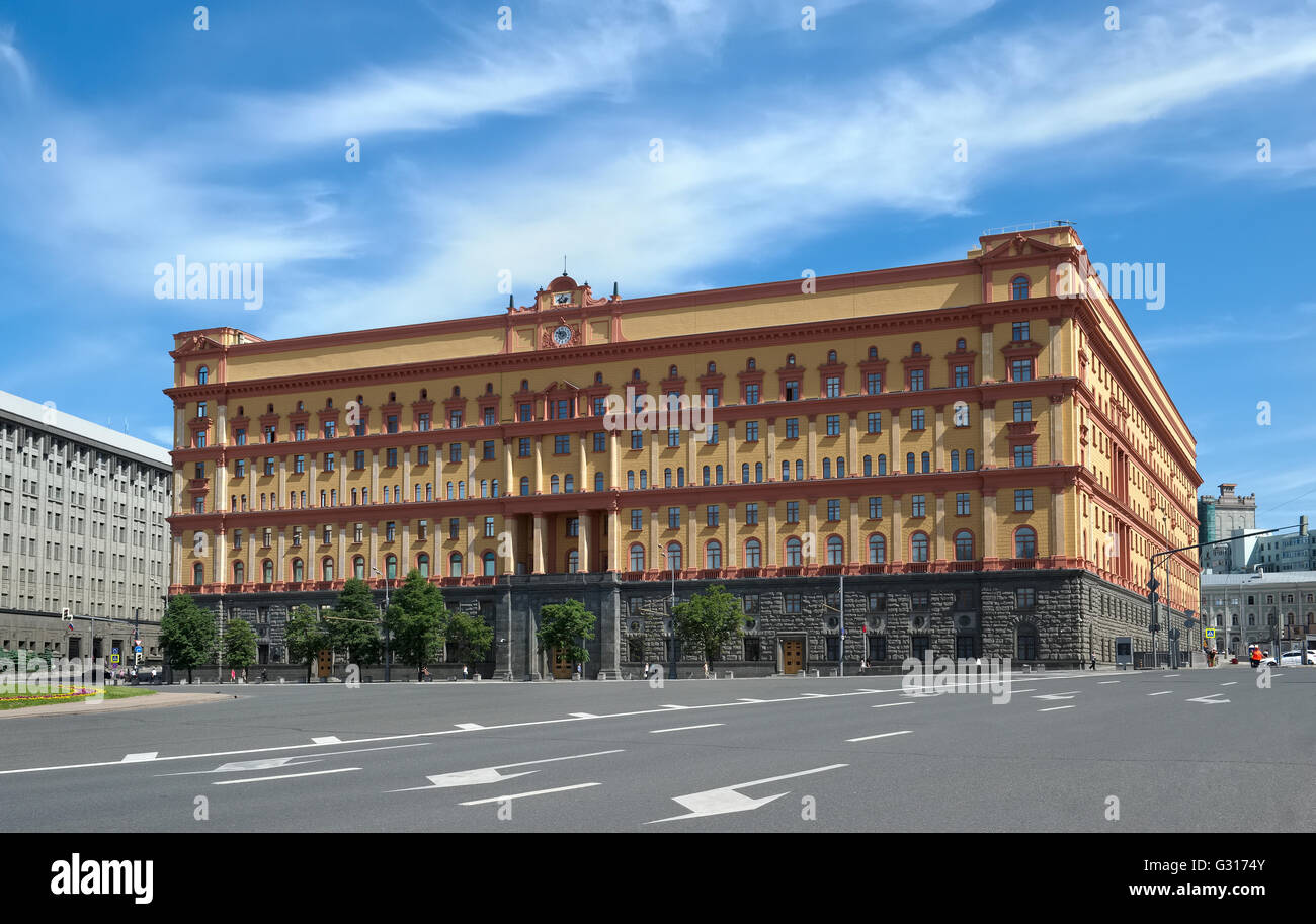 Moscow, The main building of the Federal Security Service of Russia, Bolshaya Lubyanka street, home 1 - Stock Image
