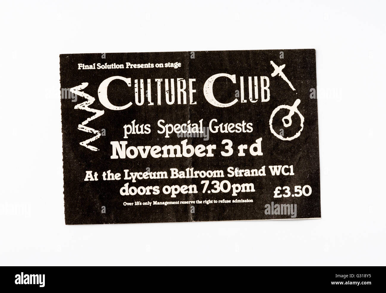 Culture Club ticket for a concert at the Lyceum Ballroom - Stock Image