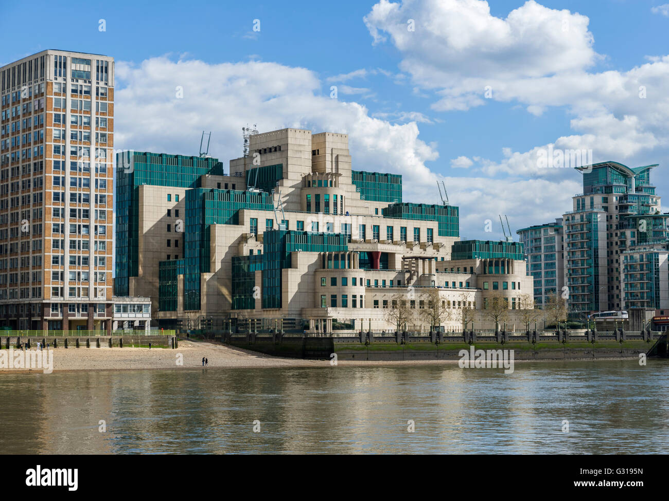 The SIS Building, headquarters of MI6, Vauxhall Cross, London, England, UK - Stock Image