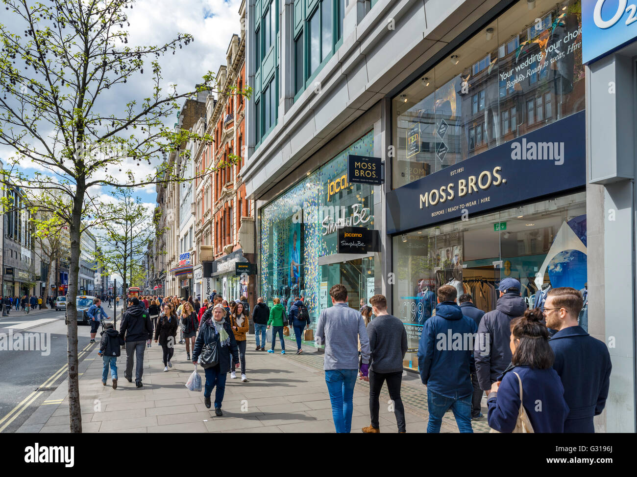 Shops on Oxford Street in the West End, London, England, UK - Stock Image