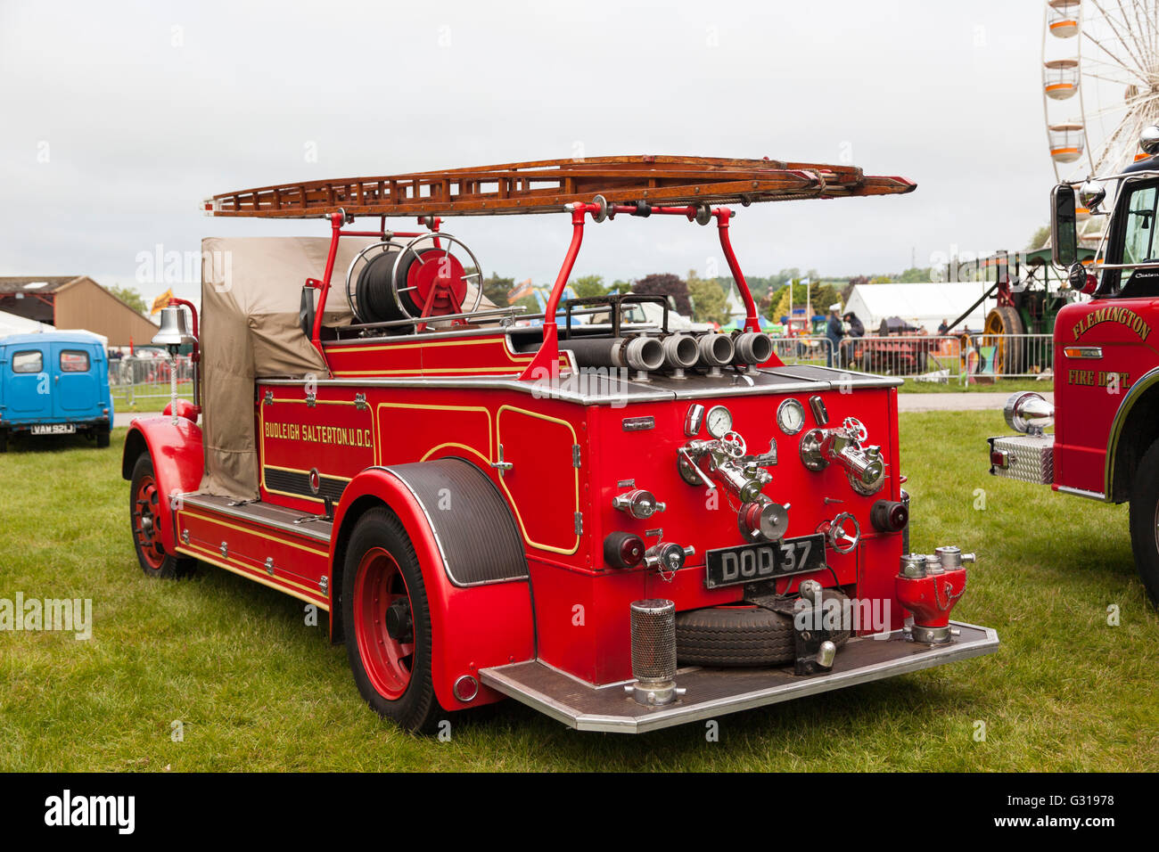 Vintage Fire Engine shown at the Royal Bath & West Show, Shepton Mallet, Somerset. - Stock Image