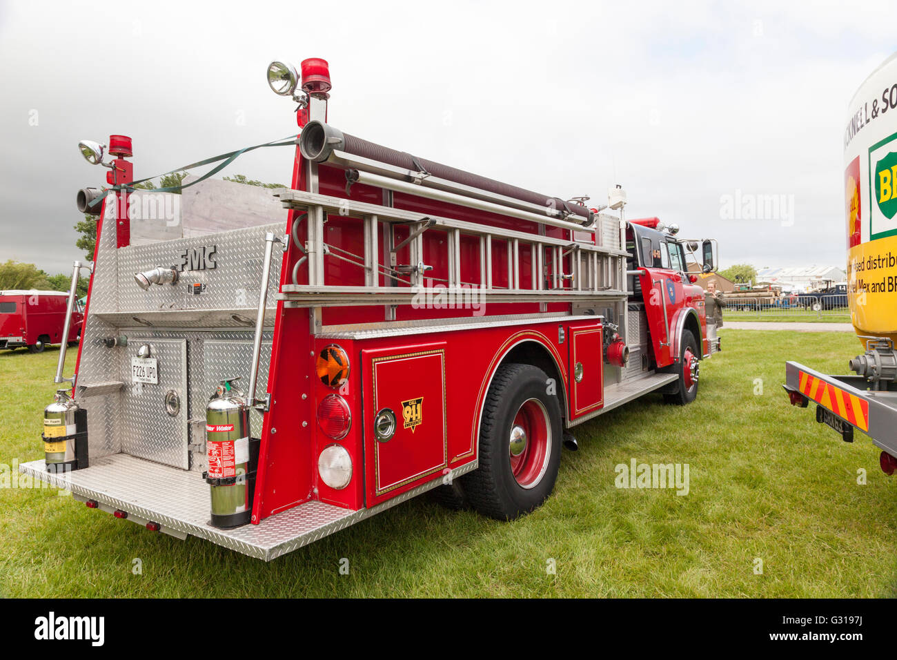 Vintage Fire Engines shown at the Royal Bath & West Show, Shepton Mallet, Somerset. - Stock Image