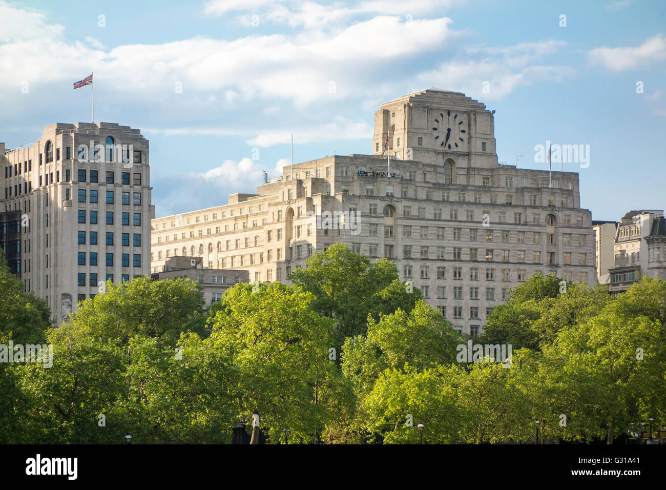 The Savoy hotel viewed over Victoria Embankment. London, UK - Stock Image
