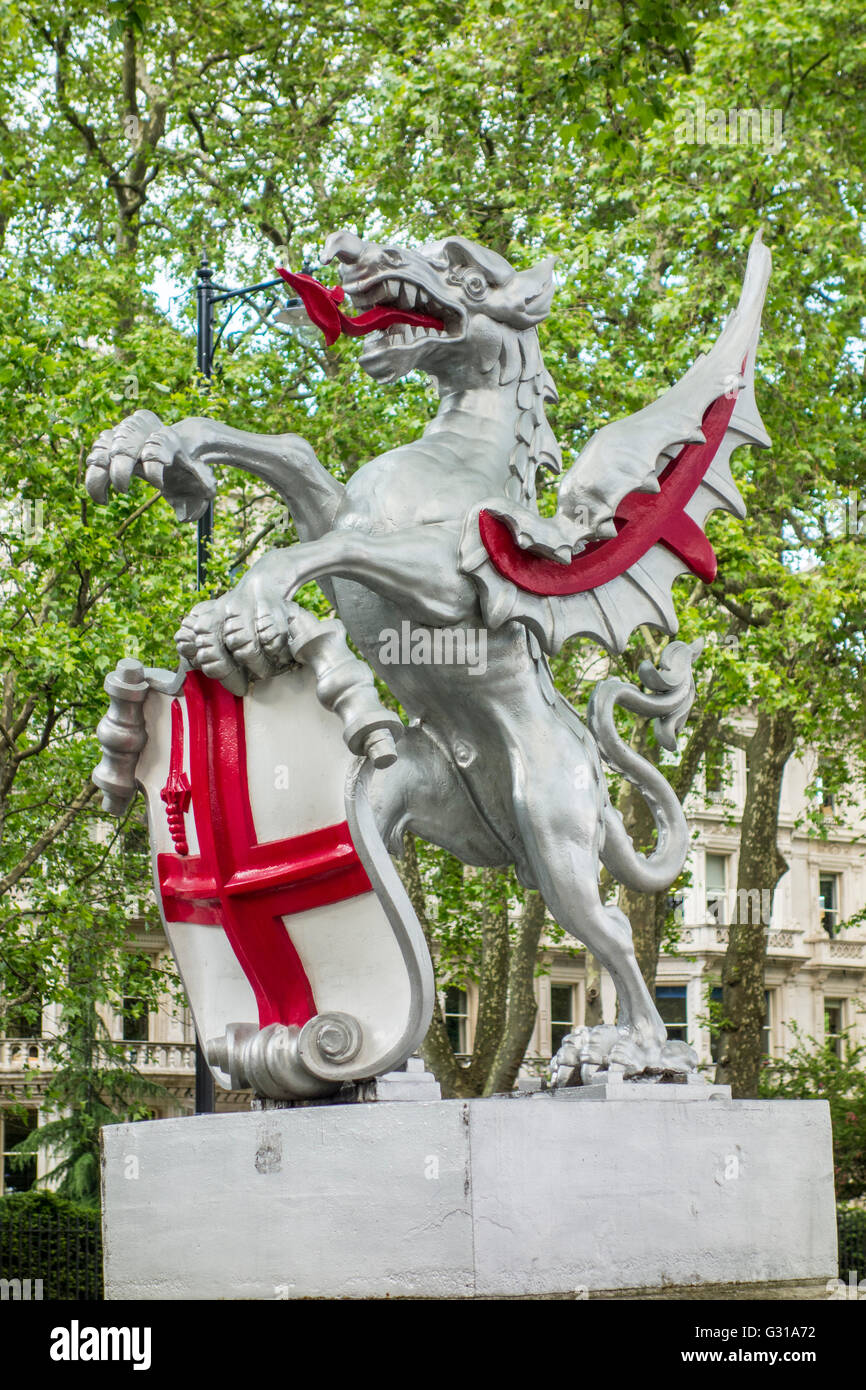 Victoria Embankment Dragons which mark the boundary of the City of London. - Stock Image