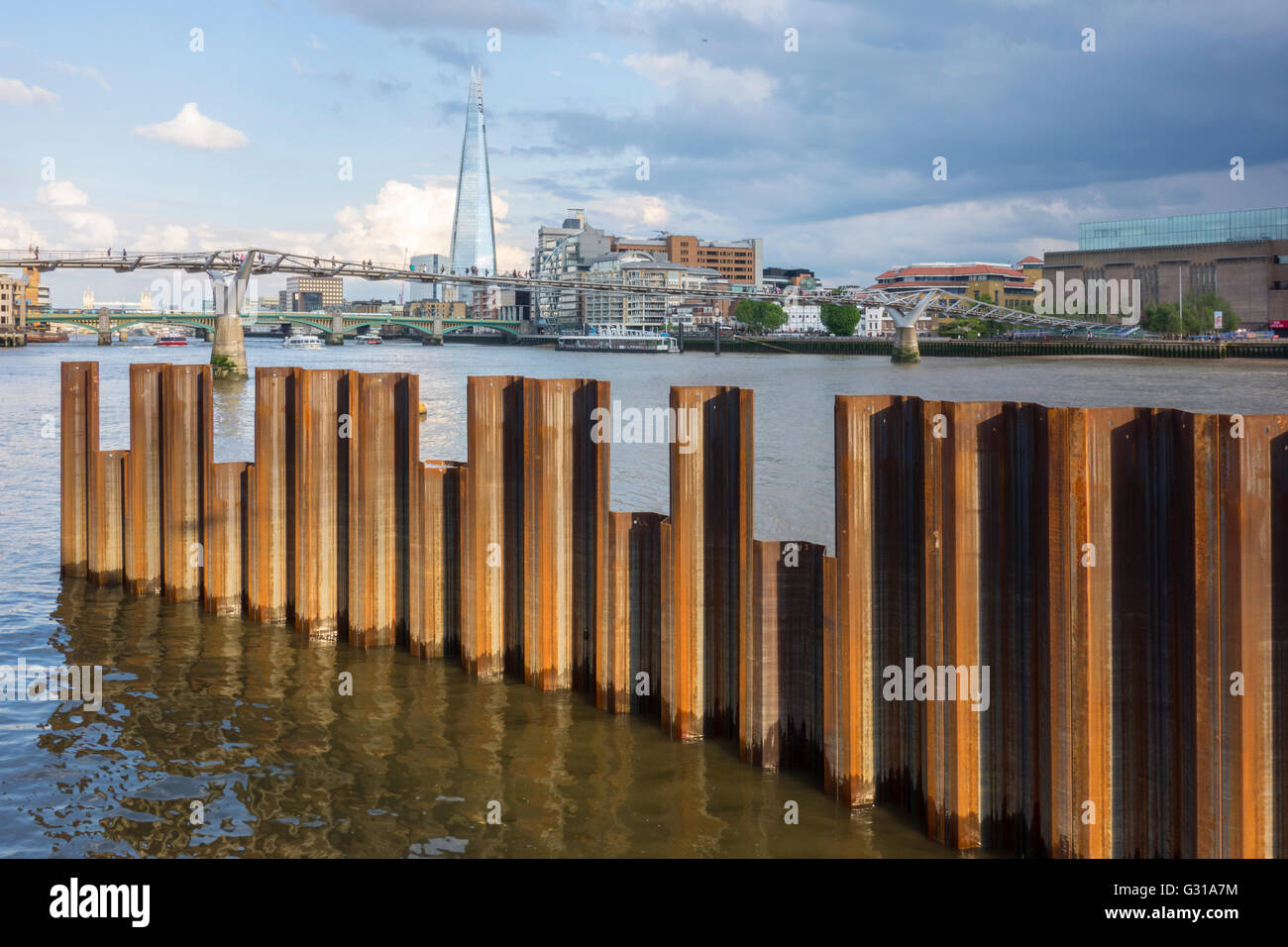 Steel retainers in the river Thames for the new Blackfriars Pier, moved for the Thames Tideway Tunnel construction. - Stock Image