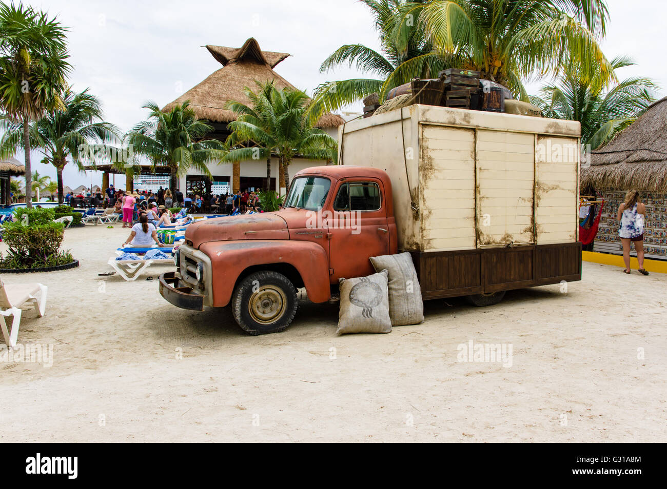 Vintage truck in the square of the Costa Maya shopping visitor center.  Costa Maya, Mexico - Stock Image