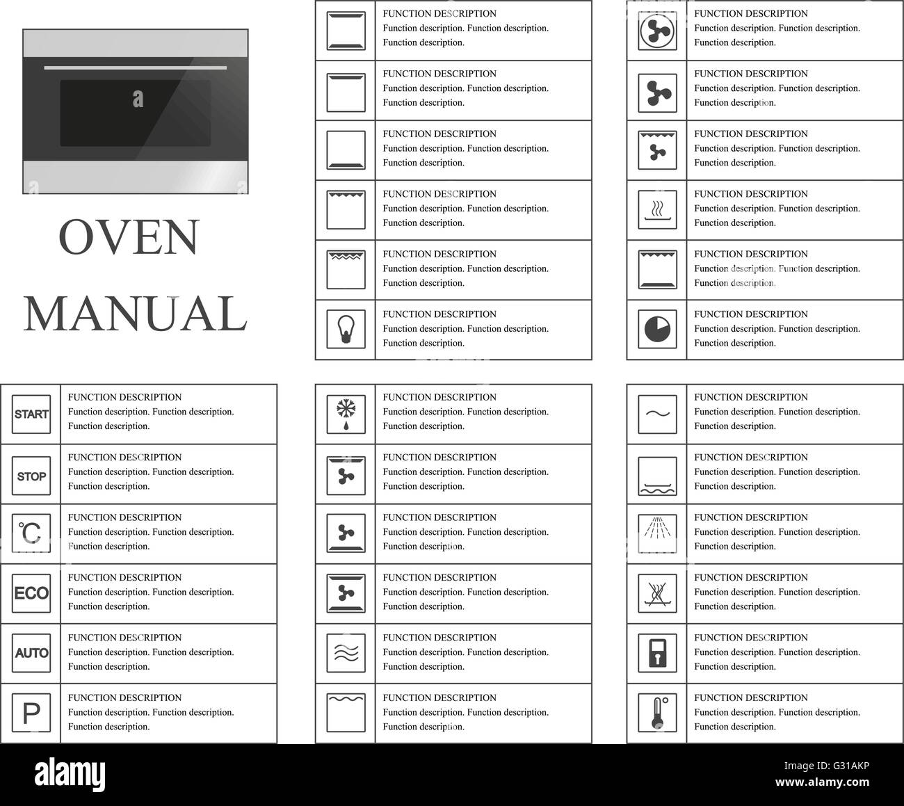 Oven Baking Element >> Oven manual symbols. Instructions. Signs and symbols for oven Stock Vector Art & Illustration ...
