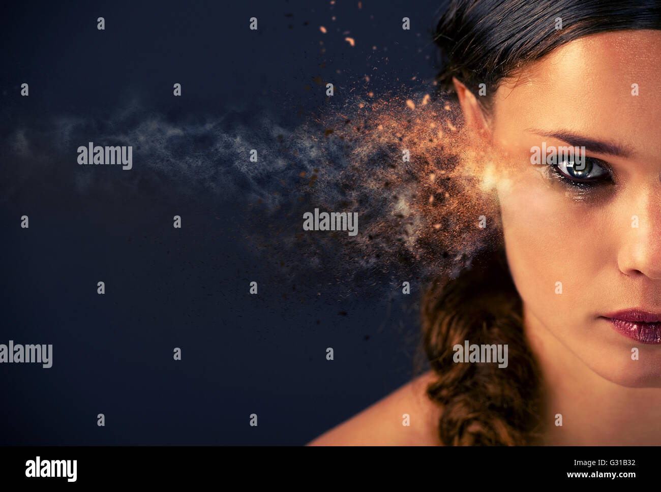 Half face of a young woman in tears. Digitally generated image - Stock Image