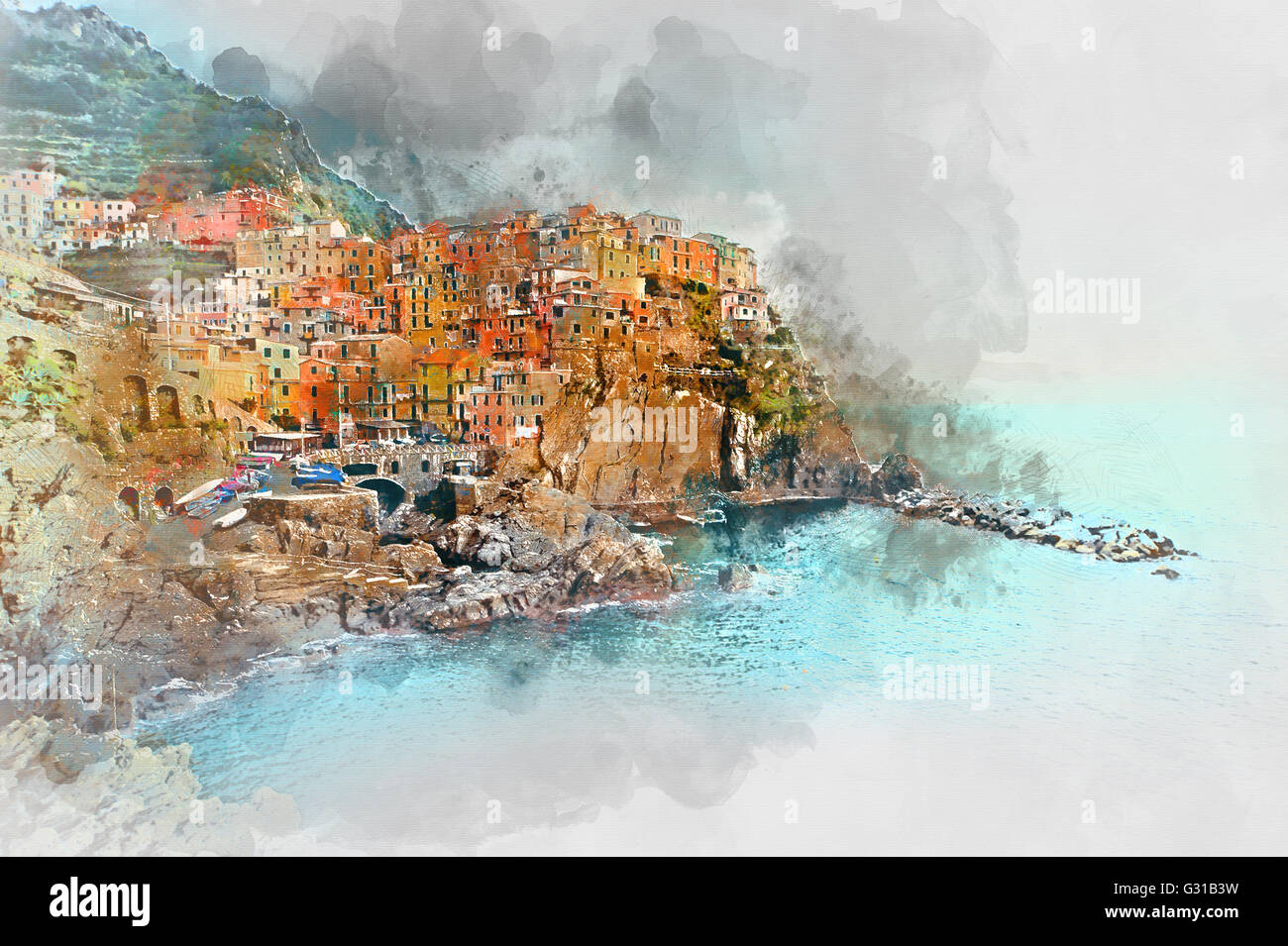 Digital watercolor painting of Manarola. Manarola is a small town in the province of La Spezia, Liguria, northern - Stock Image