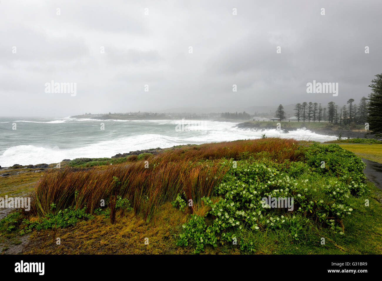 Kiama Coastline during a severe storm, New South Wales, Australia Stock Photo