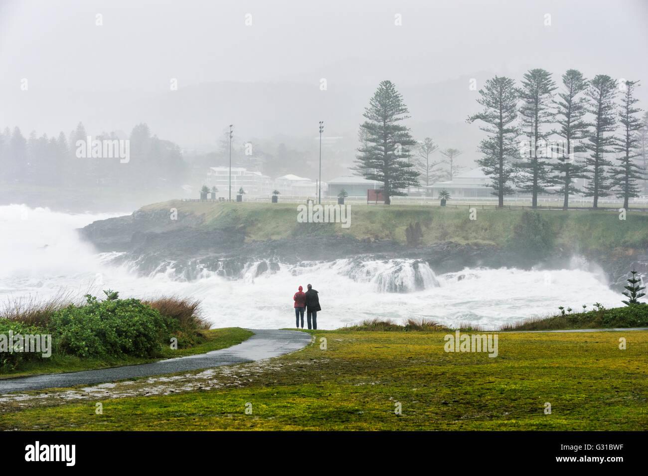 Storm Bay, Kiama Coastline during a severe storm, Illawarra coast, New South Wales, Australia Stock Photo