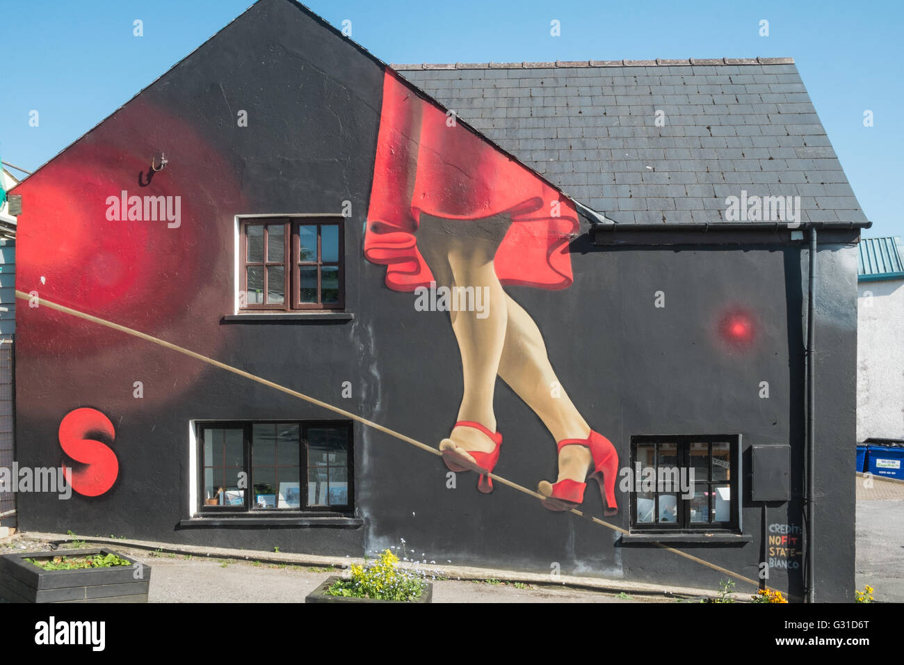 Wall mural exterior of Span Arts in Narbeth,Pembrokeshire,West Wales,U.K.,UK, Stock Photo