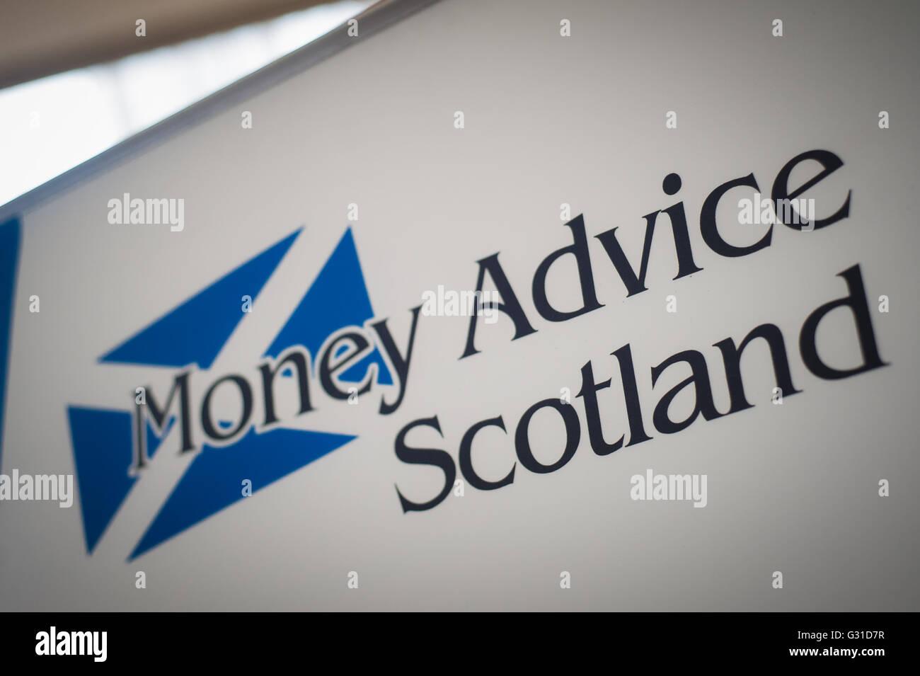 money advice Scotland logo on banner - Stock Image