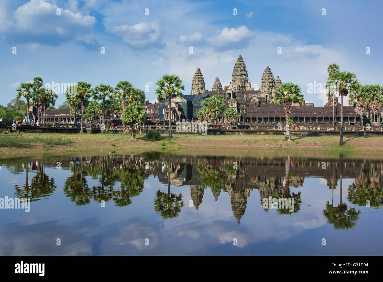 Angkor Wat day time reflection on the lake - Stock Image