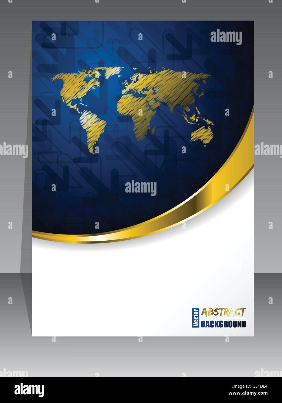 Abstract blue gold brochure with golden world map stock vector art abstract blue gold brochure with golden world map gumiabroncs Gallery
