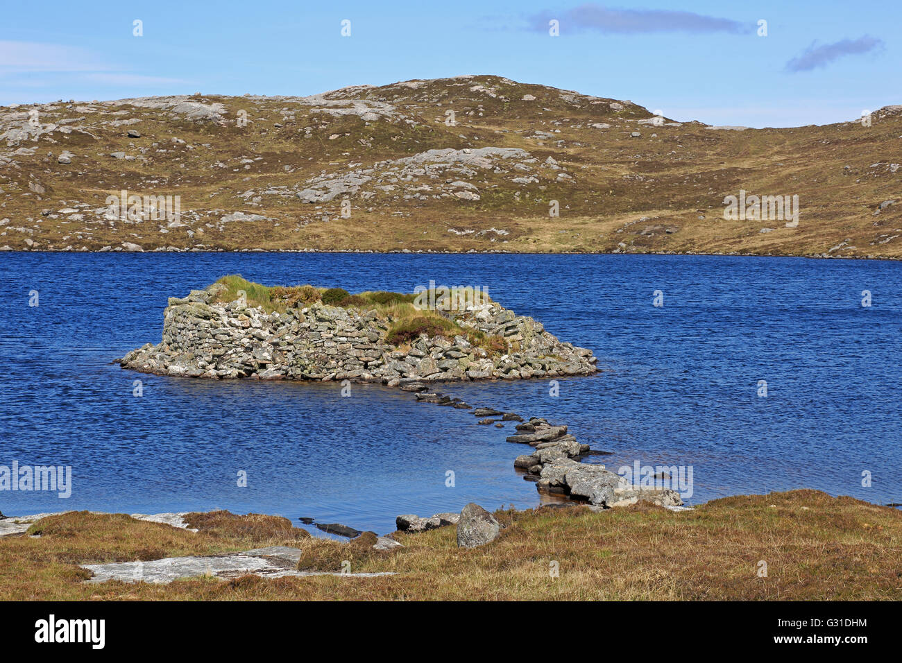 Dun on Loch An Duin on Taransay Island Outer Hebrides - Stock Image
