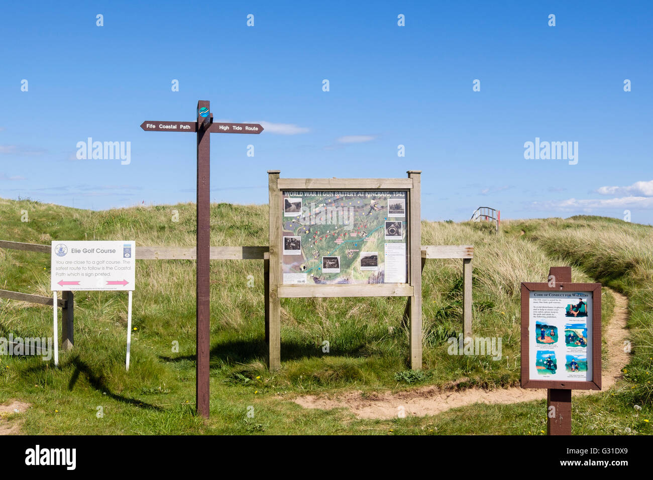 Fife Coastal Path signpost and local information boards by golf course. West Bay Elie and Earlsferry East Neuk Fife - Stock Image