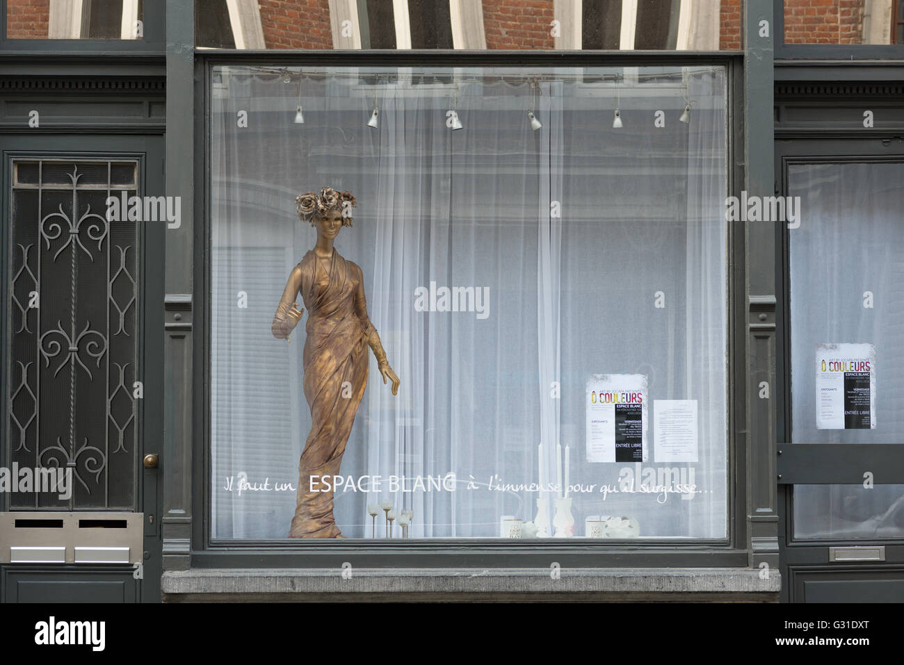 Liege, Belgium, showcase a gallery in the Old Town - Stock Image