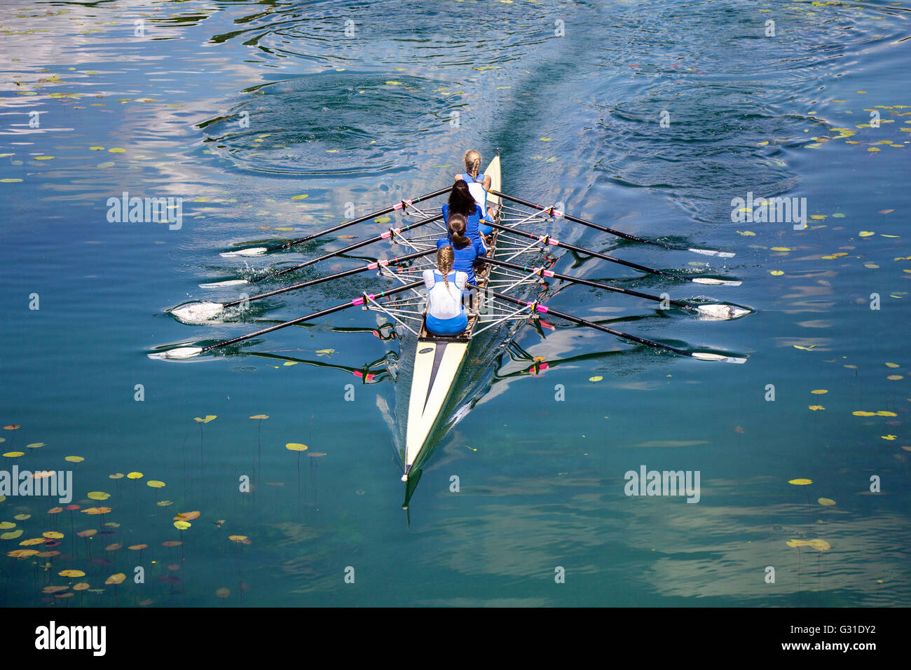 Four women rowing on the tranquil lake - Stock Image