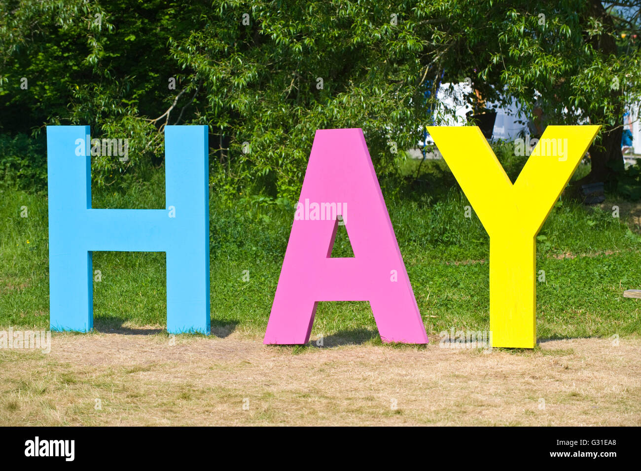 HAY sign at entrance to Hay Festival 2016 - Stock Image