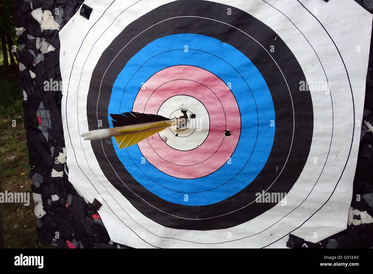 Berlin, Germany, Arrow is in the midst of a target - Stock Image