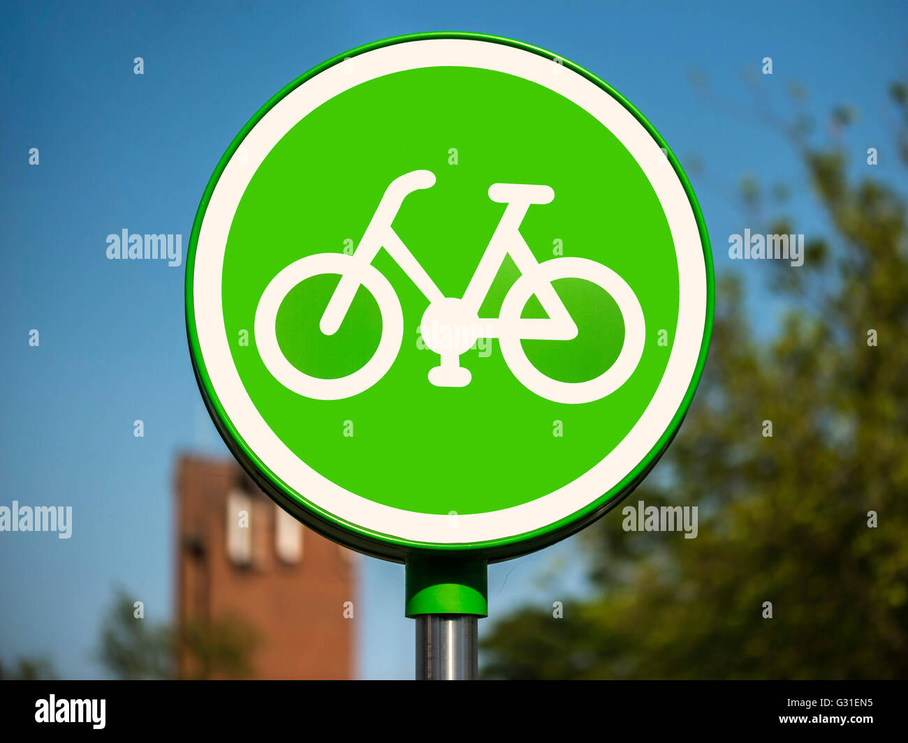 Supermarket Signage - Cycling Permitted - Stock Image