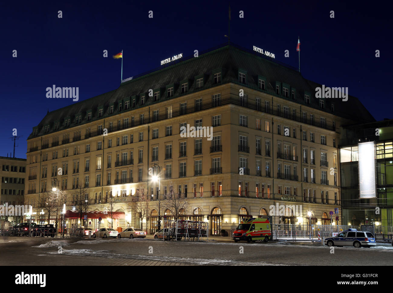 Berlin, Germany, the Hotel Adlon on Pariser Platz the blue hour - Stock Image