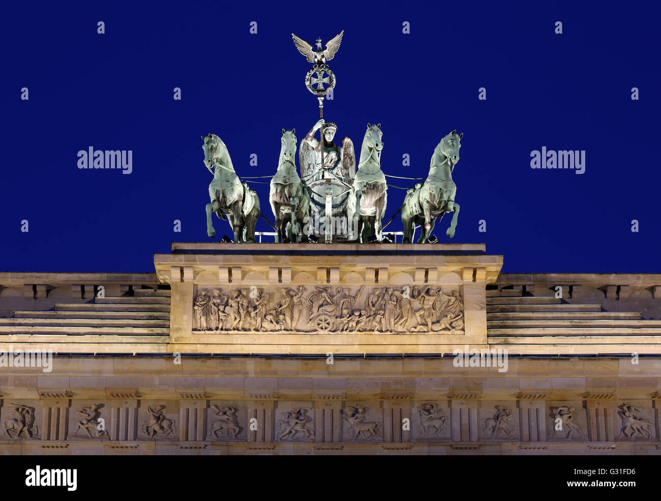 Berlin, Germany, the Quadriga on the Brandenburg Gate to the Blue Hour - Stock Image