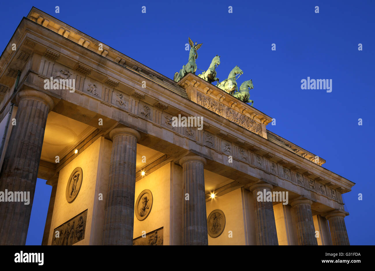 Berlin, Germany, the Brandenburg Gate to the Blue Hour - Stock Image