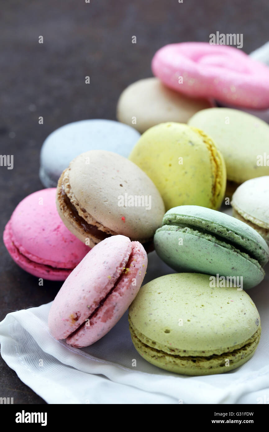 multicolored French almond cookies macaroons romantic dessert - Stock Image