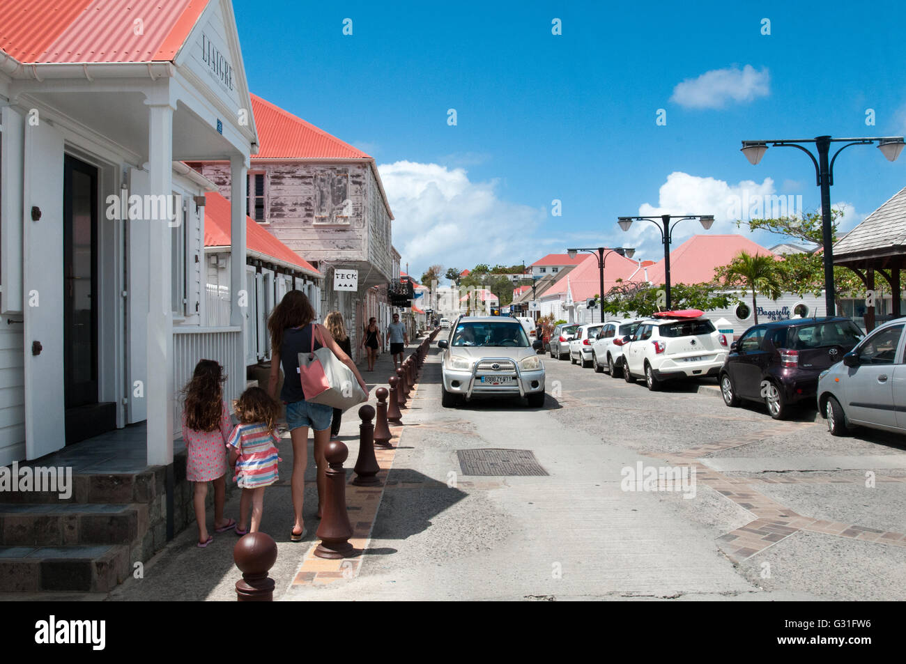 Street scene St. Bart French West Indies Caribbean - Stock Image