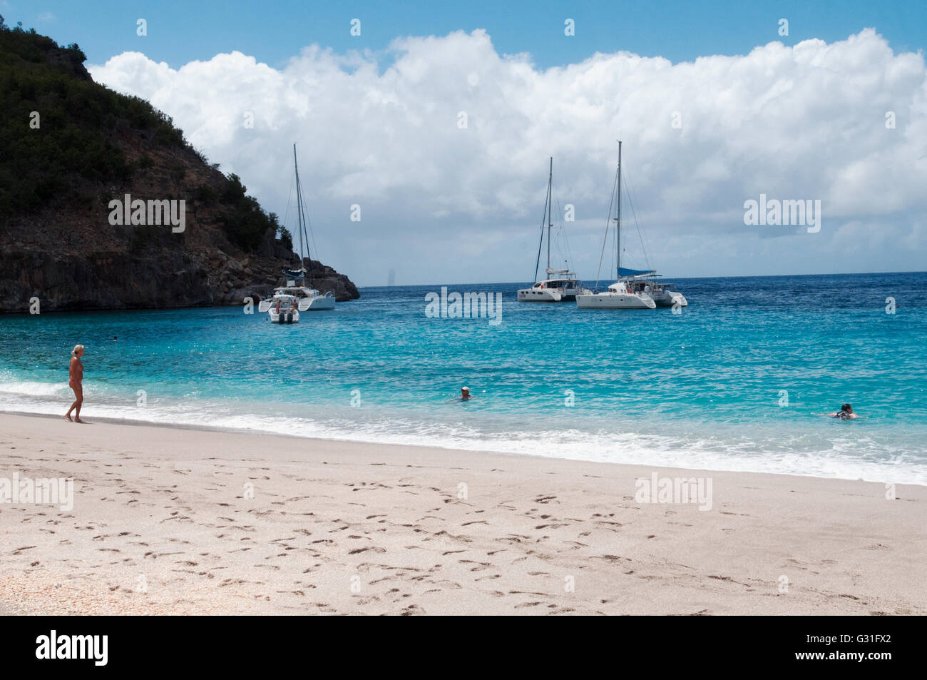 Corossol Beach in St. Bart French West Indies Caribbean - Stock Image