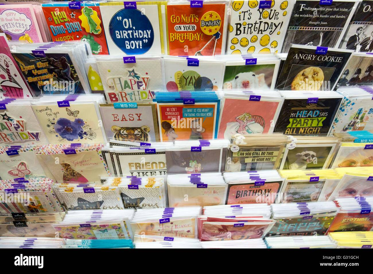 greetings cards display in a supermarket - Stock Image