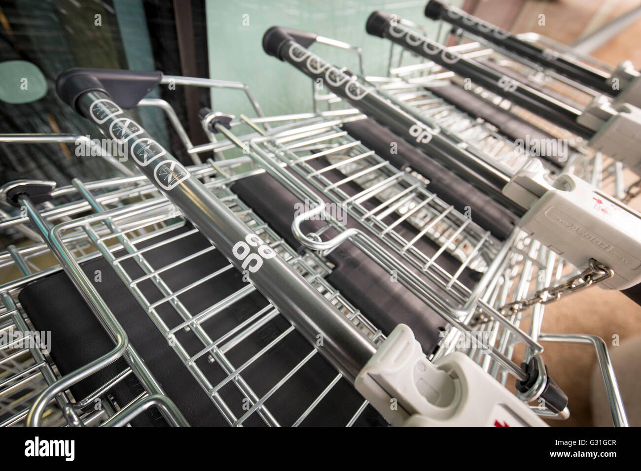 Co-Op trolleys - Stock Image