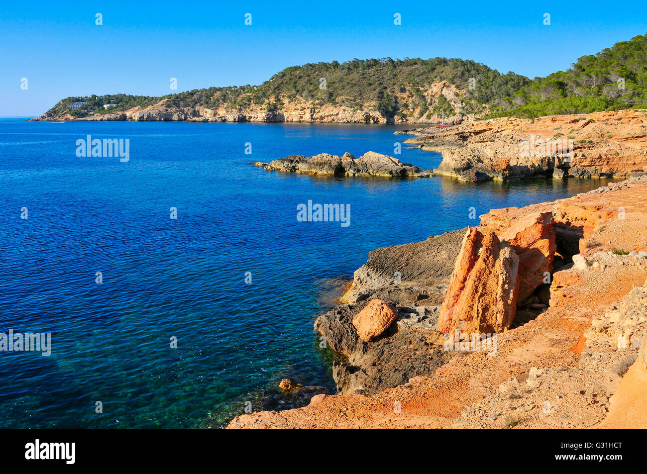 a view of the Mediterranean Sea and a cliffy landscape of the northeastern coast of Ibiza Island, in the Balearic - Stock Image